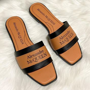Alexander McQueen new product stitching color letter logo ladies casual sandals beach slippers Shoes 1