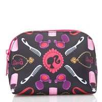 FOREVER 21 Barbie Print Cosmetics Pouch Black/Pink One