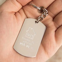 Home Is Where Mom Is Key Chain Engraved Keychain Cute Mothers Day Gift Idea