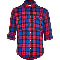 River Island Girls blue and red check shirt
