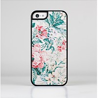 The Coral & Blue Grunge Watercolor Floral Skin-Sert Case for the Apple iPhone 5c