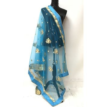 Embroidered Net Dupatta -Blue