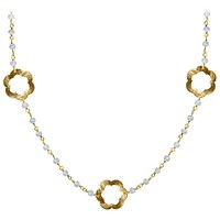 "CHG-199-RM-18"" 18K Gold Overlay Necklace With Rainbow Moonstone"
