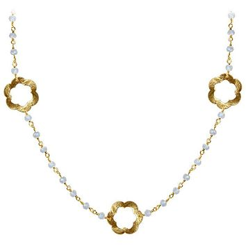 """CHG-199-RM-18"""" 18K Gold Overlay Necklace With Rainbow Moonstone"""