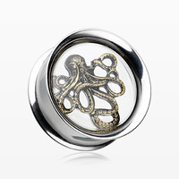 A Pair of Silver Oxidized Evil Octopus Inlay Double Flared Eyelet Plug