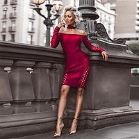 COOKIE Women's Wine Off Shoulder Long Sleeve Mini Cut Out Sexy Dress