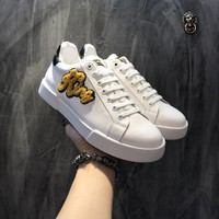 Dolce & Gabbana D & G Portofino Sneakers In Nappa Calfskin With Patches Cs15875268i707