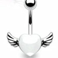 Body Accentz™ Belly Button 316L Surgical Steel Navel Ring Heart Angel wings Body Jewelry 14g HO546