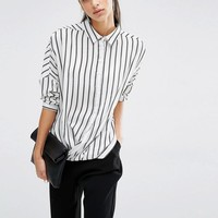 Parallel Lines   Parallel Lines Relaxed Wrap Front Shirt In Stripe Print at ASOS