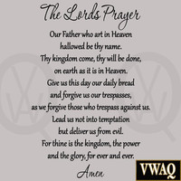The Lord's Prayer Bible Wall Decal Our Father Vinyl Wall Art Scripture Quote ...