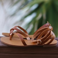 SZ 8.5 Kiera Dark Tan Wrap Sandals