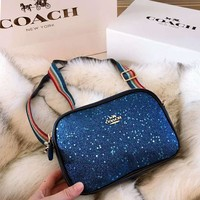 COACH High Quality Fashion Women Leather Blue Stars Sequin Shoulder Bag Crossbody Satchel