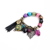 The Peacock and Leaf Beaded Charm Bracelet