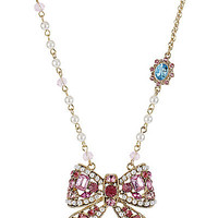 BetseyJohnson.com - BOW FRONTAL NECKLACE PINK