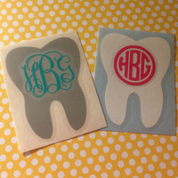 Personalized Vinyl Dental Hygienist Tooth Monogram Custom Car Laptop Tablet Phone Decal MULTIPLE SIZES