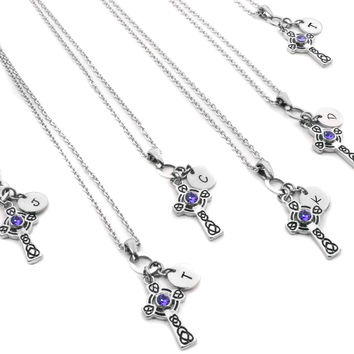 Bridesmaids Crystal Cross and Initial Necklace