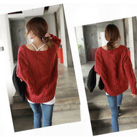 BEST SELLER! OVERSIZE thickening V-NECK VINTAGE Batwing Sweaters WF-3695-F