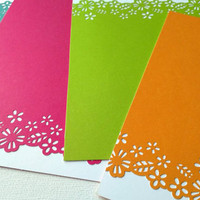 Set of 8 hand punched bright note card set, set of 8 note cards with envelopes, hand punched floral border stationary set, bright note cards