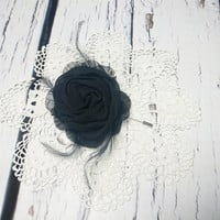 Black boutonniere chiffon flower prom hand made flower feathers brooch