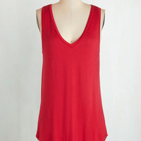 Athletic Long Tank top (2 thick straps) Endless Possibilities Top in Crimson