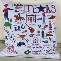 Texas States Embroidered Pillow