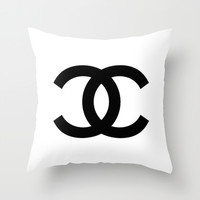 White & Black Luxury Logo Throw Pillow by Luxe Glam Decor