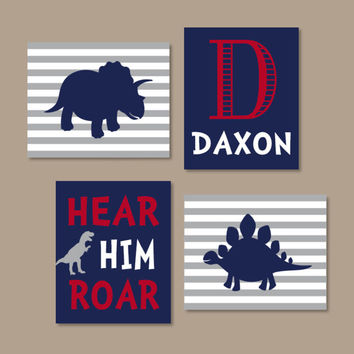 Dinosaur Wall Art Dinosaur Decor Boy Nursery Wall Art Dino Navy Gray Big Boy Bedroom Hear Him Roar Initial Name Set of 4 Prints Or Canvas
