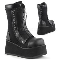Clash 206 Black Front Zipper Goth Ankle Boot