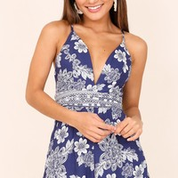 Chasing The Sea playsuit in blue print Produced By SHOWPO
