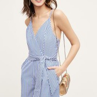 Finders Keepers Candy Stripe Romper in Blue Motif Size: