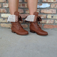 Lace Fold Over Boots - Tan