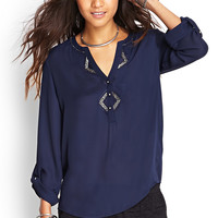 FOREVER 21 Embroidered Bead Blouse Navy Medium