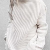 White High Neck Long Sleeve Knit Sweater