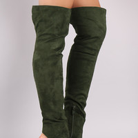 Suede Cutout Chunky Heeled Over-The-Knee Boots