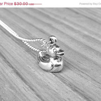 Mothers Day Sale Rubber Duck Necklace, Sterling Silver