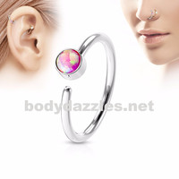 Pink Opal Set Surgical Steel Nose Hoop Ring Nose Ring Helix Daith Cartilage Body Jewelry 20ga
