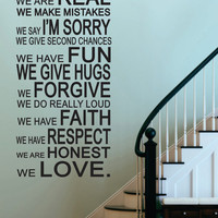 """Vinyl Wall Sticker Decal -In This House-House Rules  - Livingroom - Kitchen-Entry-Rec Room- Photo Wall -Picture Wall 48""""H x 23""""W"""