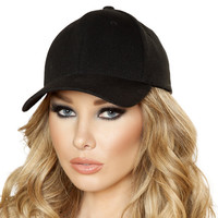 Sexy Plain Black Baseball Cap Halloween Accessory