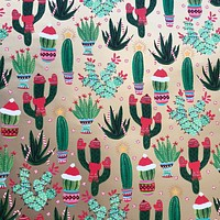 Christmas Gift Wrap Wrapping Paper, Gold Cactus (8 Rolls 5ft x 30in)