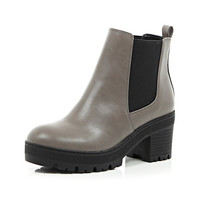 River Island Womens Grey chunky cleated sole Chelsea boots