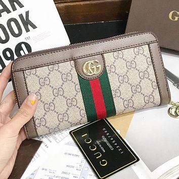 GUCCI New Fashion Stripe More Letter Leather Cosmetic Bag File Package Handbag