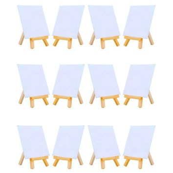 MEEDEN 4 by 4 Inch Mini Canvas and 3 by 5 Inch Mini Wood Easel Set for Painting Drawing School Student Artist Supplies, 12 Pack