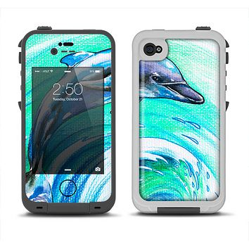The Pastel Vibrant Blue Dolphin Apple iPhone 4-4s LifeProof Fre Case Skin Set
