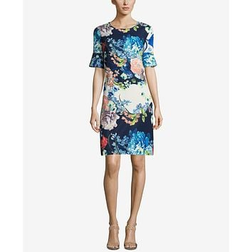 ECI Bell-Sleeve Floral-Print Dress, Size 10/Navy