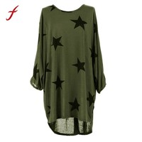 2017 Fashion Summer Women Plus Size Batwing Three Quarter Sleeve Stars Print Baggy Tunic Tops Blouse Casual Polyester Tops shirt