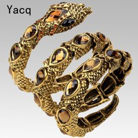 YACQ Stretch Snake Bracelet Armlet Upper Arm Cuff  Women Punk Rock Crystal Bangle Jewelry Antique Gold Silver Color Dropship A32