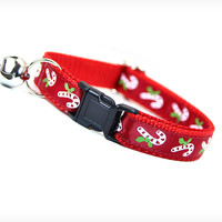 """Cat Collar - """"Holly Jolly Christmas"""" - Holiday Candy Canes on Red Satin"""