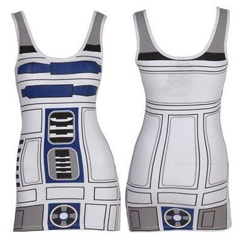 Star Wars I Am R2-D2 Droid Cosplay Costume Licensed Women's Tunic Tank Top