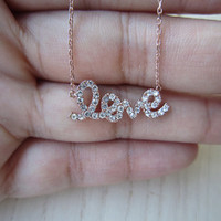 rose gold love necklace,love letter,Inlaid crystal, noble, elegant, refined,nice gift