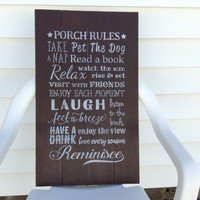 Porch Rules Sign Large Porch Signs, New Home Housewarming Gift, Welcome Sign For Front Porch Decor, Cabin Decor Wall Art, Lake House Sign